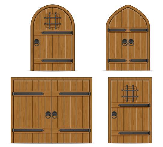 Ilustración de vector de puerta de madera vieja