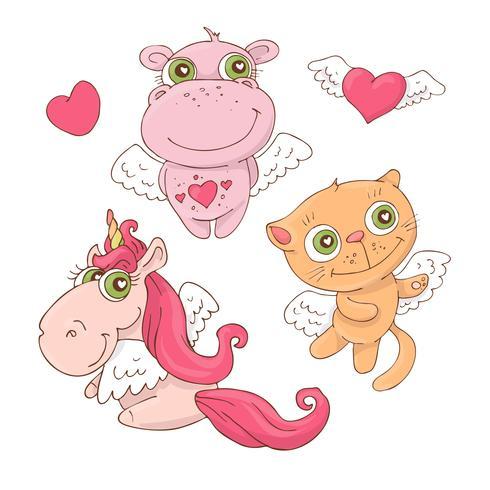 Conjunto de dibujos animados lindos animales ángeles para el día de San Valentín con accesorios. Ilustracion vectorial