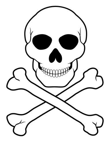 illustrazione di vettore del teschio e ossa incrociate del pirata