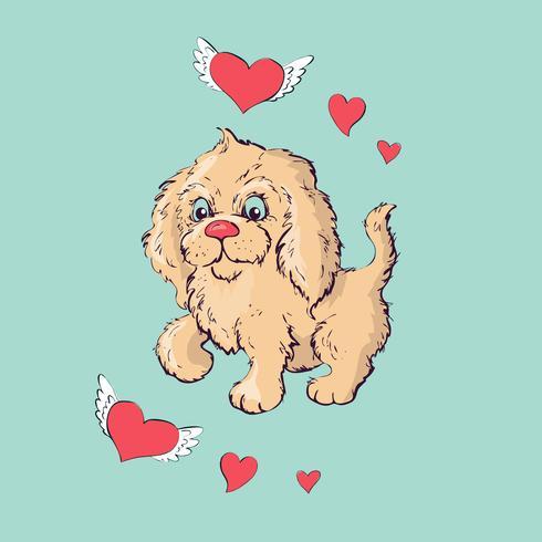 Sentada feliz del perrito de la historieta, retrato del cuello que lleva lindo del pequeño perro.