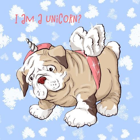 Perro de perrito feliz de la historieta, retrato del cuello que lleva lindo del pequeño perro.