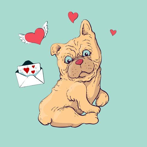 Happy cartoon puppy zitten, portret van schattige kleine hond kraag dragen.