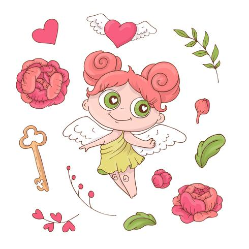Set of cute cartoon angels for Valentine s Day with accessories vector