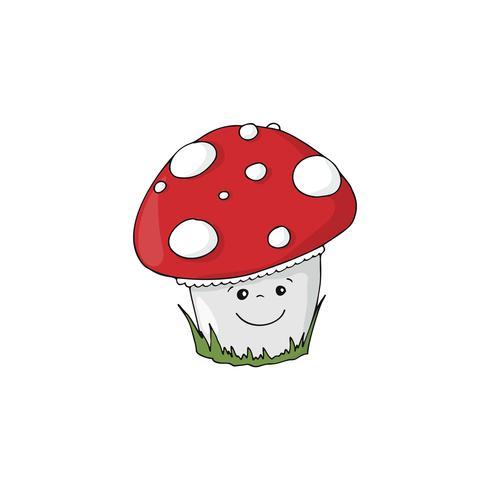 Cartoon Amanita muscaria mushroom icon. Wild forest mushrooms in autumn.