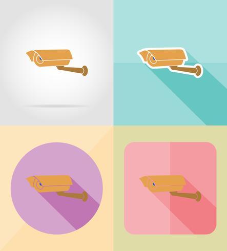 videoövervakningskamera för design platta ikoner vektor illustration