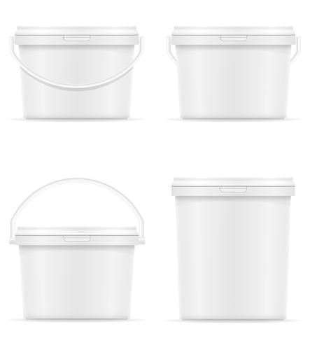 vit plast hink för färg vektor illustration