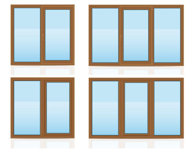 brown plastic transparent window view indoors and outdoors vector illustration