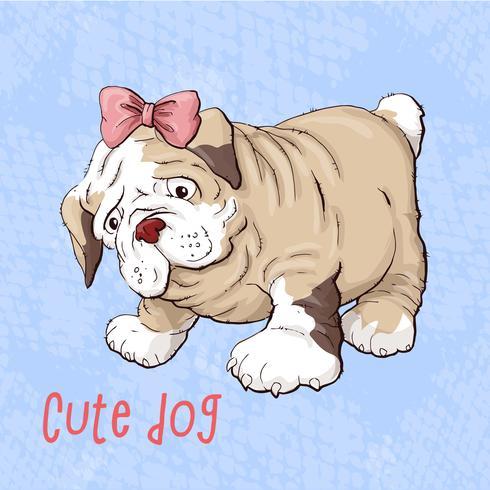 Chien chiot heureux dessin animé, Portrait de mignon petit chien porte collier
