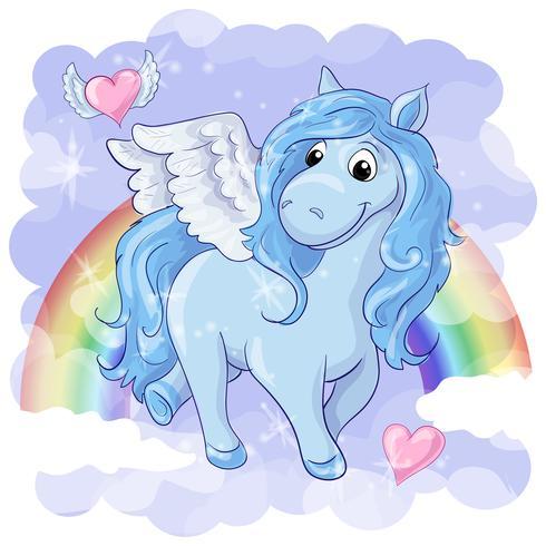 Fantastische Postkarte mit Pegasus vektor