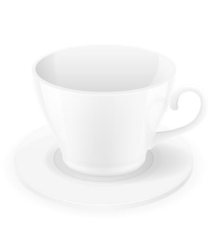 porcelain cup and saucer vector illustration