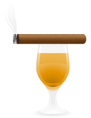ilustração em vetor charuto e bebidas alcoólicas