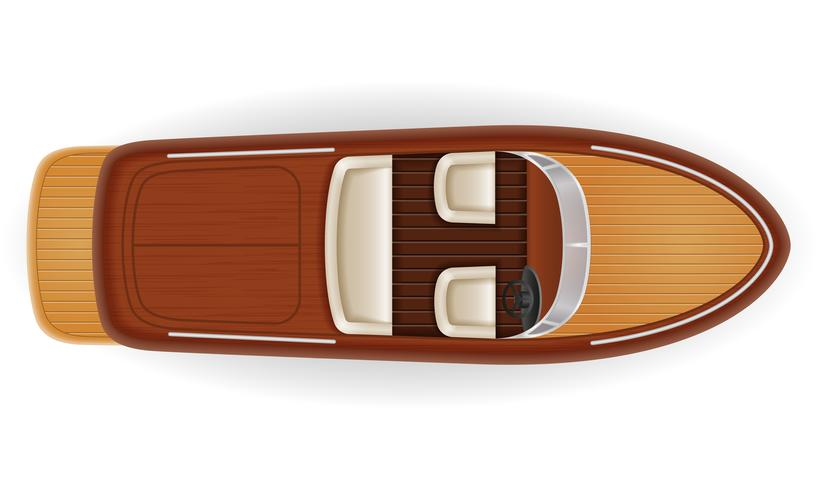 motor boat vintage old retro made of wooden vector illustration
