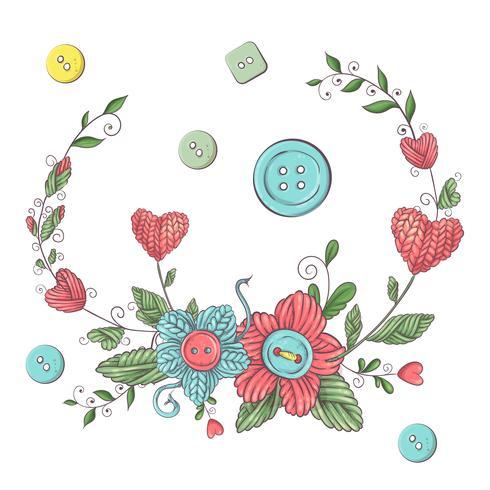 Enkel illustration med stickpinne, stickning och engelsk text. Jag älskar stickning, affischdesign. Färgrik bakgrund.