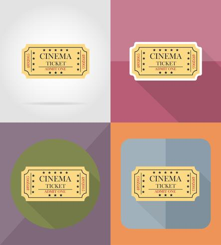 cinema ticket flat icons vector illustration