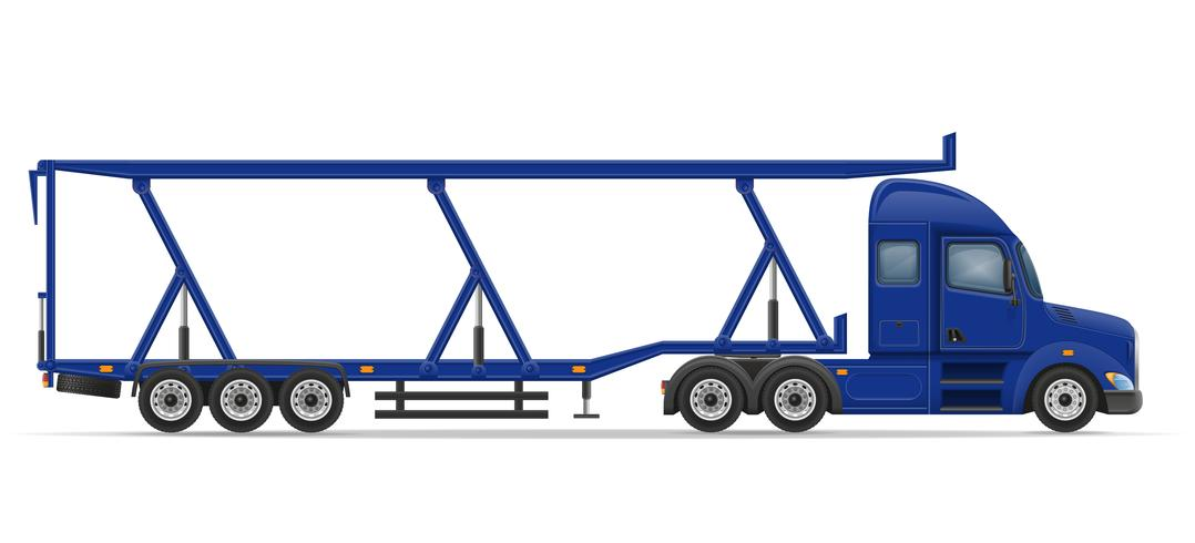 truck semi trailer for transportation of car vector illustration