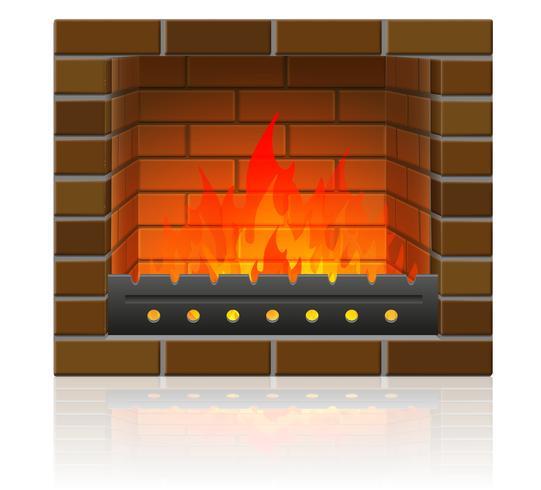 fuego ardiente en la ilustración de vector de chimenea