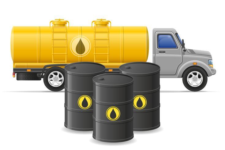 Entrega de camiones de carga y transporte de combustible para la ilustración de vector de concepto de transporte