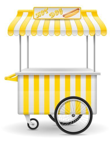 street food cart hot dog vector illustration