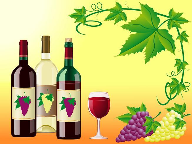 Wein ist rotweiß mit Trauben und dekorativen Blättern