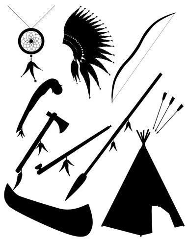 Silueta negra set iconos objetos indios americanos vector ilustración