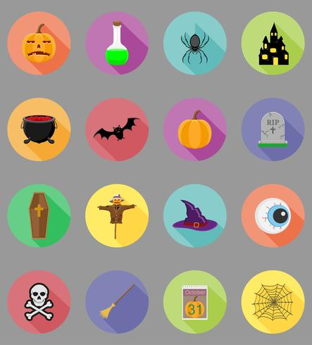 halloween flat icons vector illustration