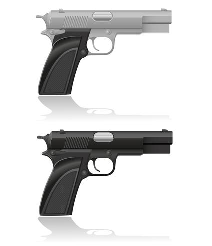 silver and black automatic pistol vector illustration