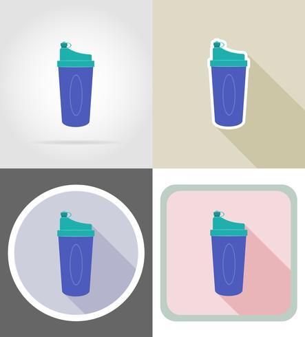 bottiglia di agitatore per icone piane fitness illustrazione vettoriale