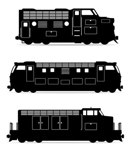 set icons railway locomotive train black outline silhouette vector illustration