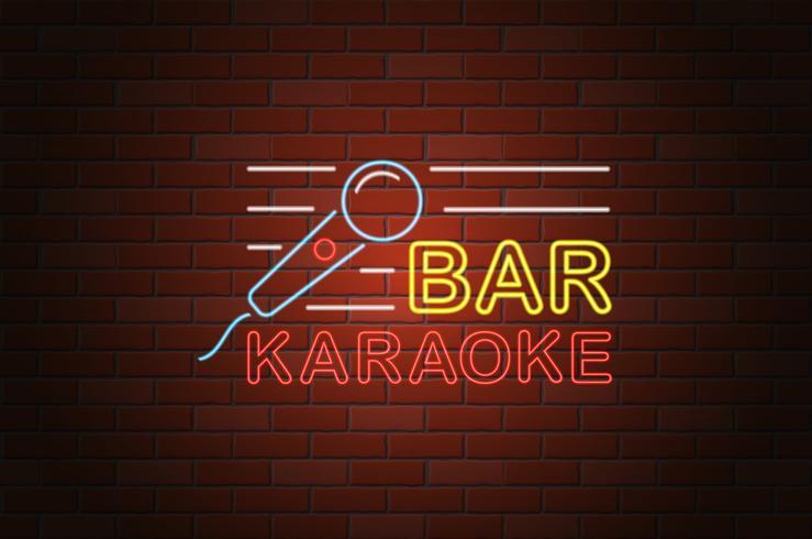 glowing neon signboard karaoke bar vector illustration