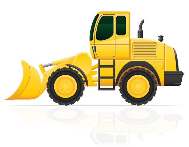 excavadora para obras viales ilustración vectorial