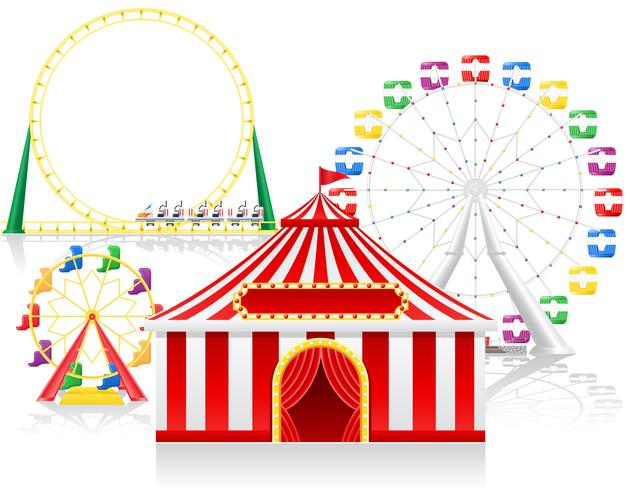 cirque tente et attractions vector illustration