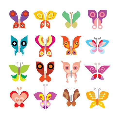 Set di icone di farfalla