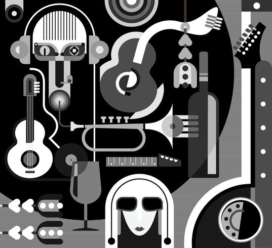 Music Party - monochrome vector illustration
