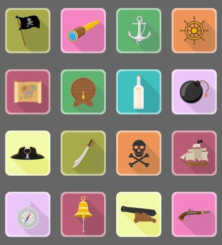 icone piane del pirata illustrazione vettoriale