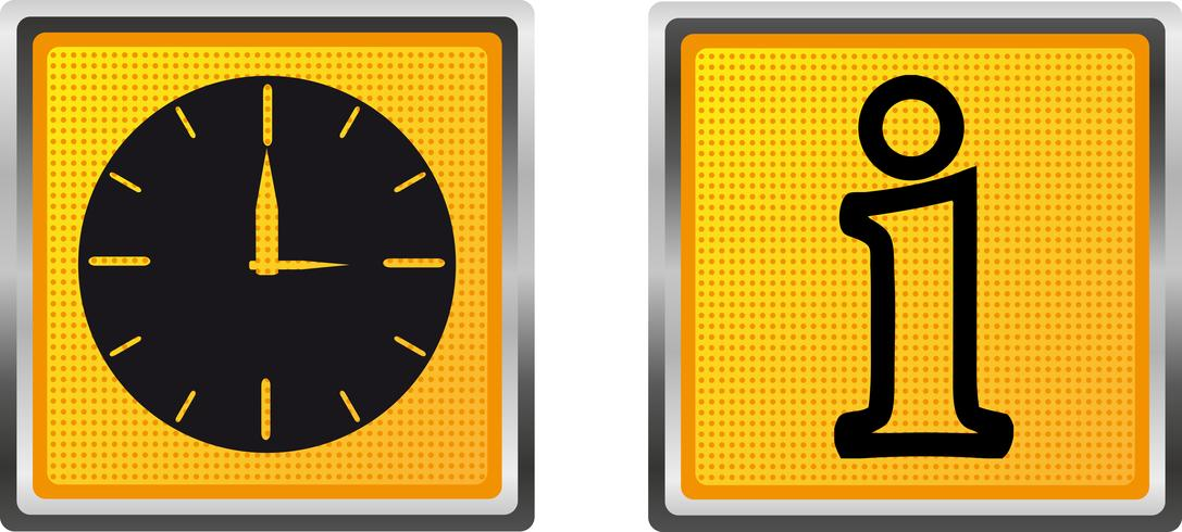 icons information and clock for design vector illustration