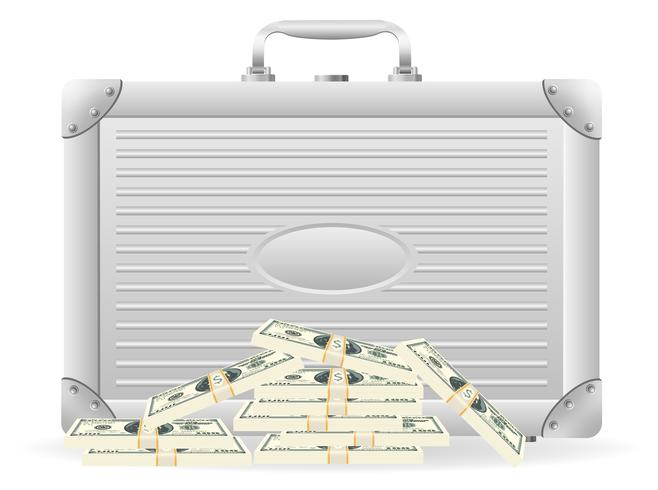 metallic briefcase with packed dollars vector illustration