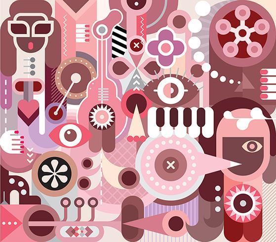 Musiker-abstrakter Kunst-Vektor-Porträt