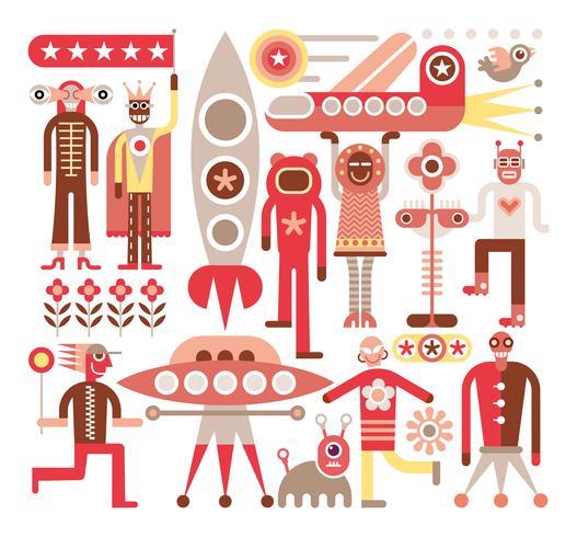 Menschen und Ausländer - Vektorillustration