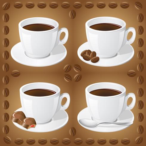 set van pictogrammen voor cups met koffie vector