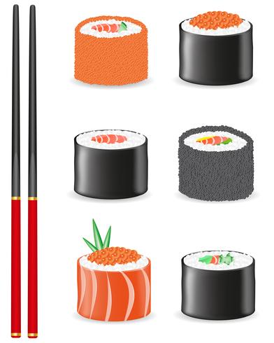 sushi set ikoner vektor illustration