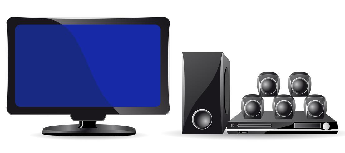 icônes LCD TV et cinéma domestique vecteur