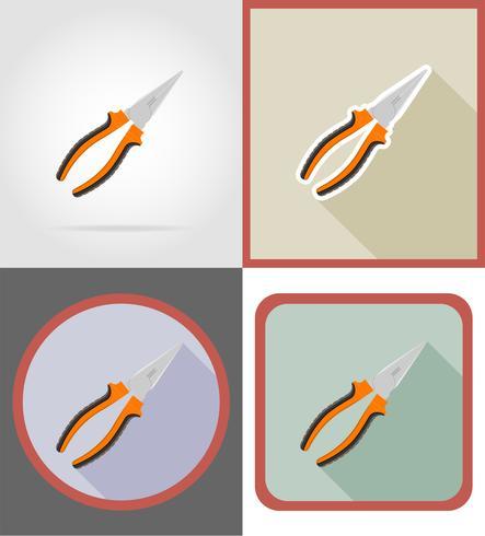 Reparación de alicates y herramientas de construcción iconos planos vector ilustración