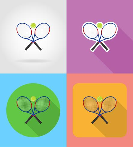 tennis racket and ball flat icons vector illustration