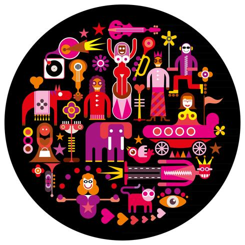 Carnival - round vector illustration