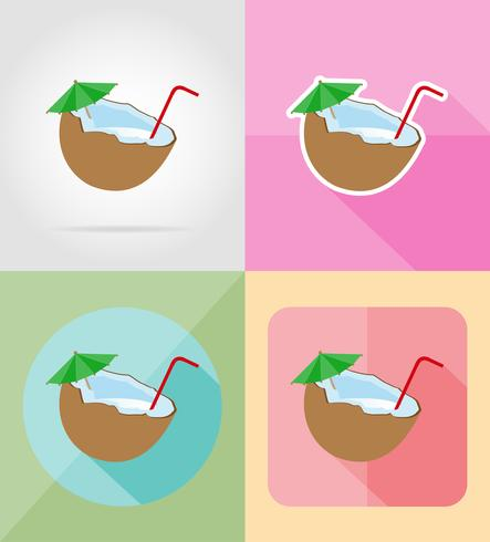 cocktail di icone piane di cocco illustrazione vettoriale