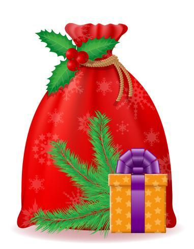 Bolsa de Navidad roja santa claus ilustración vectorial