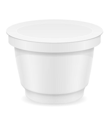 witte plastic container yoghurt of ijs vectorillustratie