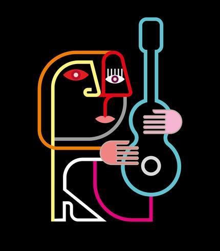 Homem, com, guitarra, vetorial, ilustração