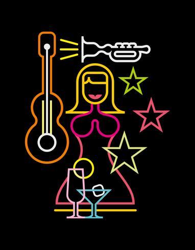 Night Club neon sign vector illustration