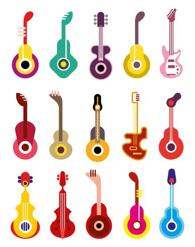 Guitare - icon set vector
